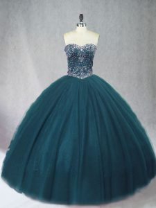Unique Peacock Green Ball Gowns Sweetheart Sleeveless Tulle Floor Length Lace Up Beading Quince Ball Gowns