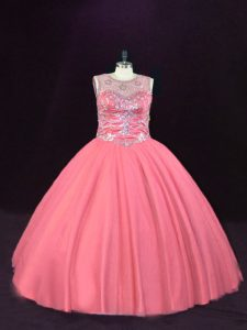 On Sale Ball Gowns Quinceanera Gowns Pink Scoop Tulle Sleeveless Floor Length Lace Up