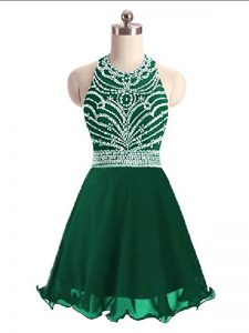 Green A-line Chiffon Halter Top Sleeveless Beading Mini Length Lace Up Homecoming Dress