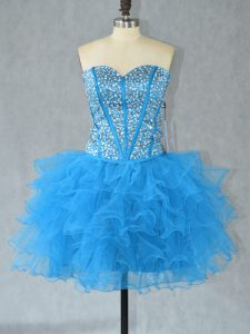 Charming Aqua Blue Lace Up Homecoming Dress Beading and Ruffles Sleeveless Mini Length