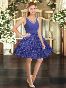 Taffeta V-neck Sleeveless Backless Ruffles Evening Dress in Purple