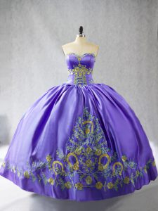Embroidery Sweet 16 Dress Purple Lace Up Sleeveless Floor Length