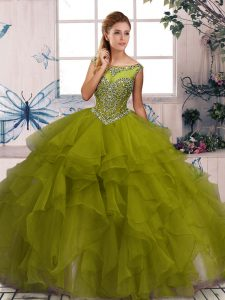Romantic Ball Gowns Vestidos de Quinceanera Olive Green Scoop Organza Sleeveless Floor Length Zipper