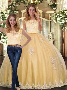 Beauteous Floor Length Two Pieces Sleeveless Gold Quince Ball Gowns Clasp Handle