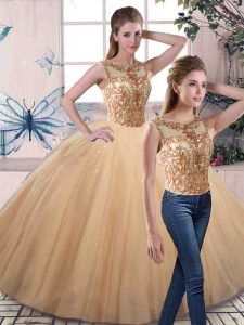 Sleeveless Floor Length Beading Lace Up 15 Quinceanera Dress with Gold