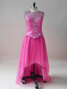 Luxurious Hot Pink Sleeveless High Low Beading