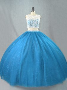 Artistic Sleeveless Tulle Floor Length Zipper Vestidos de Quinceanera in Blue with Beading