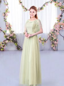 Modern Scoop Short Sleeves Quinceanera Dama Dress Floor Length Lace and Belt Yellow Green Tulle