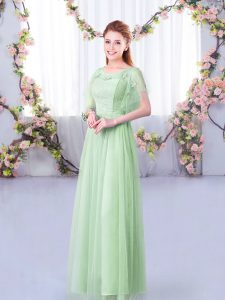 Apple Green Short Sleeves Floor Length Lace and Belt Side Zipper Bridesmaid Dress