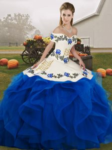 Colorful Floor Length Ball Gowns Sleeveless Royal Blue Sweet 16 Dress Lace Up