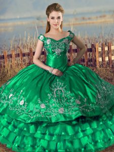 Green Ball Gown Prom Dress Sweet 16 and Quinceanera with Embroidery and Ruffled Layers Off The Shoulder Sleeveless Lace Up