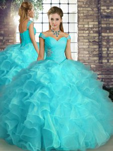 Cheap Aqua Blue Sleeveless Beading and Ruffles Floor Length Ball Gown Prom Dress