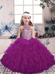 Halter Top Sleeveless Tulle Little Girls Pageant Dress Wholesale Beading and Ruffles Lace Up