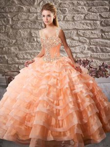Sleeveless Beading and Ruffled Layers Lace Up Quince Ball Gowns with Orange Court Train