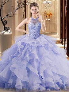 Adorable Sleeveless Brush Train Ruffles Lace Up Quince Ball Gowns