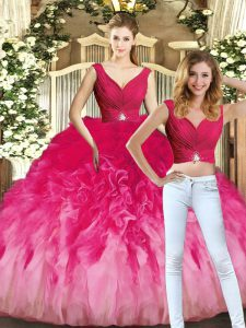Multi-color Ball Gowns V-neck Sleeveless Tulle Floor Length Lace Up Ruching Quinceanera Dresses