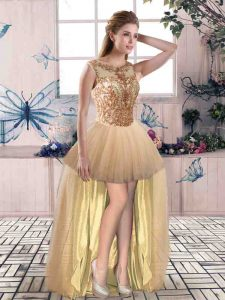 Custom Design High Low A-line Sleeveless Gold Evening Dress Lace Up