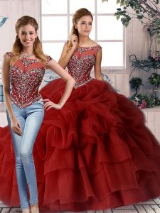 Gorgeous Organza Sleeveless Sweet 16 Dress Brush Train and Beading and Pick Ups
