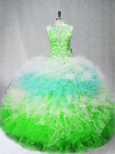 Scoop Sleeveless Quinceanera Dress Floor Length Beading and Ruffles Multi-color Tulle