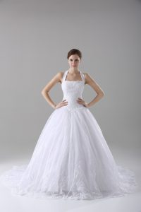 Romantic Sleeveless Brush Train Lace Lace Up Bridal Gown