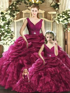 V-neck Sleeveless Backless 15th Birthday Dress Burgundy Organza