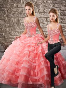 Lace Up Quinceanera Gowns Watermelon Red for Sweet 16 and Quinceanera with Beading and Ruffled Layers Court Train