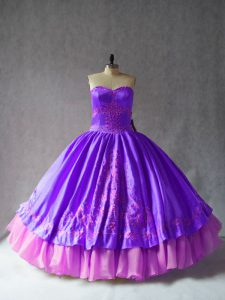 Satin and Organza Sleeveless Floor Length Ball Gown Prom Dress and Embroidery