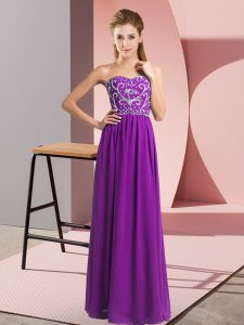 Artistic Beading Homecoming Dress Purple Lace Up Sleeveless Floor Length