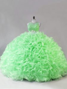 Zipper Scoop Beading Ball Gown Prom Dress Fabric With Rolling Flowers Sleeveless