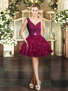 Mini Length Burgundy Evening Dress Organza Sleeveless Ruffles