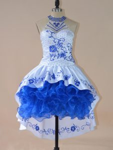 Beautiful Royal Blue Evening Dress Prom and Party and Military Ball with Embroidery and Ruffles Halter Top Sleeveless Lace Up