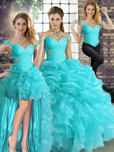 Sleeveless Floor Length Beading and Ruffles and Pick Ups Lace Up Quince Ball Gowns with Aqua Blue