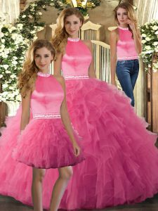 Hot Pink Quinceanera Dresses Sweet 16 and Quinceanera with Ruffles Halter Top Sleeveless Backless