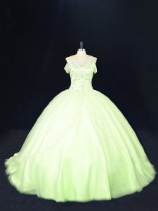 Excellent Yellow Green Lace Up Quinceanera Gown Beading Sleeveless Court Train
