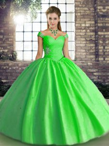 Simple Ball Gowns Ball Gown Prom Dress Green Off The Shoulder Tulle Sleeveless Floor Length Lace Up