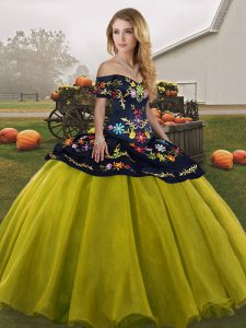 Dazzling Off The Shoulder Sleeveless Tulle Sweet 16 Quinceanera Dress Embroidery Lace Up