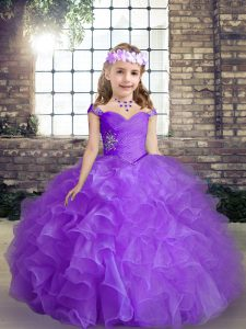 Purple Little Girl Pageant Gowns Party and Wedding Party with Beading Straps Sleeveless Lace Up