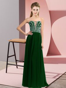 Beading Dress for Prom Dark Green Lace Up Sleeveless Floor Length