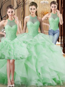 Most Popular Apple Green Quinceanera Gowns Halter Top Sleeveless Brush Train Lace Up
