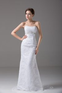 Captivating White Tulle Zipper Wedding Dresses Sleeveless Brush Train Beading and Lace and Belt