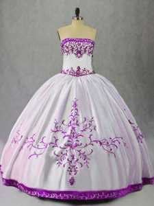 Satin Strapless Sleeveless Lace Up Embroidery Sweet 16 Quinceanera Dress in White And Purple