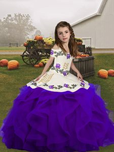 Floor Length Lace Up Winning Pageant Gowns Purple for Party and Wedding Party with Embroidery and Ruffles