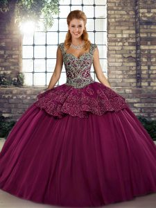 Custom Design Tulle Sleeveless Floor Length Vestidos de Quinceanera and Beading and Appliques