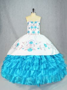 Excellent Baby Blue Organza Lace Up Sweetheart Sleeveless Floor Length 15 Quinceanera Dress Embroidery and Ruffled Layers