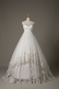 Gorgeous White Sweetheart Neckline Beading and Lace and Hand Made Flower Wedding Dress Sleeveless Lace Up