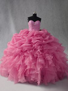 Floor Length Rose Pink Ball Gown Prom Dress Organza Sleeveless Beading and Ruffles and Pick Ups