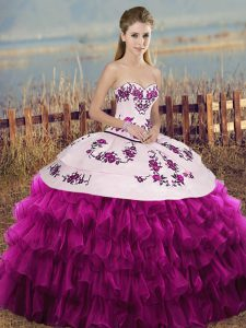 Ideal Fuchsia Sleeveless Organza Lace Up Sweet 16 Dresses for Military Ball and Sweet 16 and Quinceanera