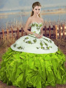 Floor Length Olive Green Quince Ball Gowns Organza Sleeveless Embroidery and Ruffles and Bowknot