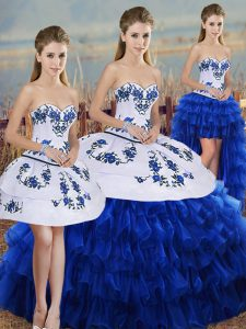 Royal Blue Sweetheart Lace Up Embroidery and Ruffled Layers and Bowknot Quinceanera Gowns Sleeveless