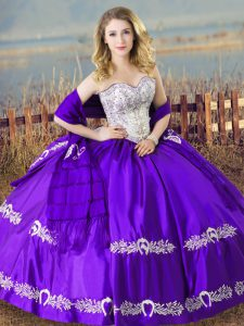 Deluxe Eggplant Purple Sweetheart Lace Up Beading and Embroidery Quinceanera Gown Sleeveless
